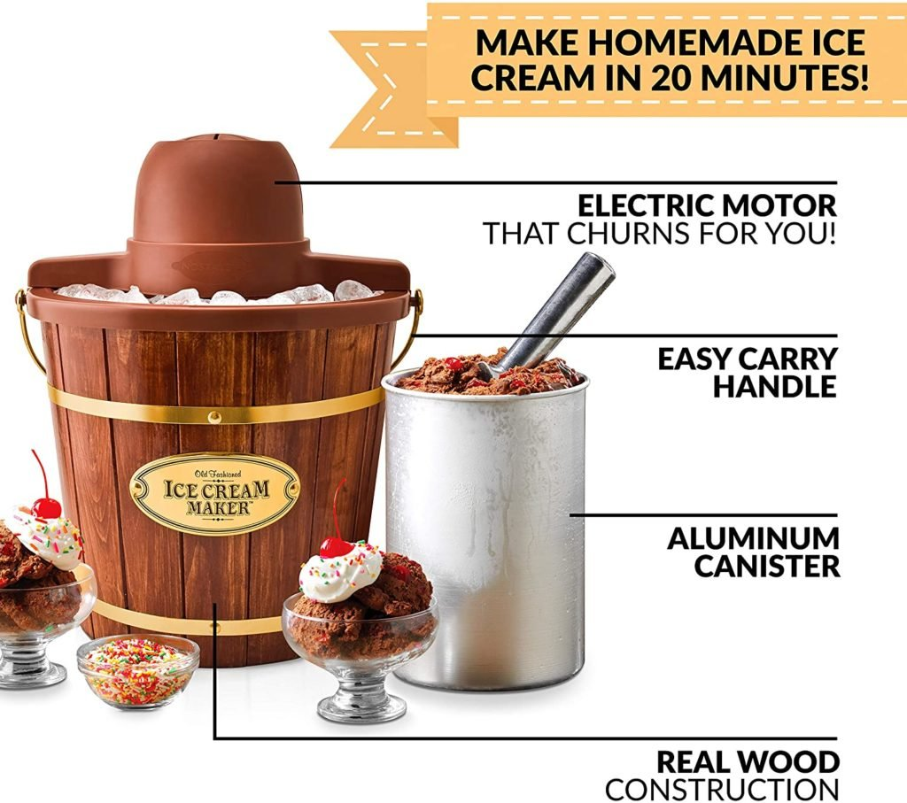 Electric Bucket Ice Cream Maker With Easy-Carry Handle, Makes 4-Quarts